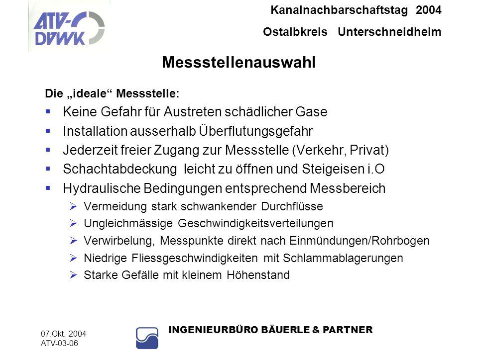 Kanalnachbarschaftstag 2004 Ostalbkreis Unterschneidheim 07.Okt. 2004 ATV-03-06 INGENIEURBÜRO BÄUERLE & PARTNER Messstellenauswahl Die ideale Messstel