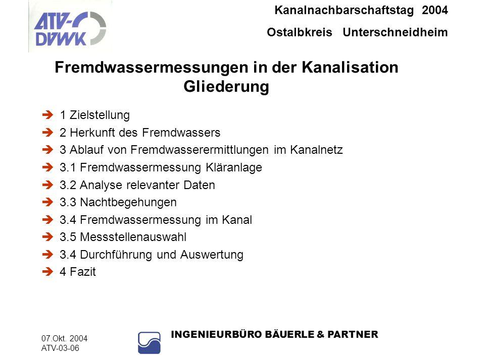 Kanalnachbarschaftstag 2004 Ostalbkreis Unterschneidheim 07.Okt. 2004 ATV-03-06 INGENIEURBÜRO BÄUERLE & PARTNER Fremdwassermessungen in der Kanalisati