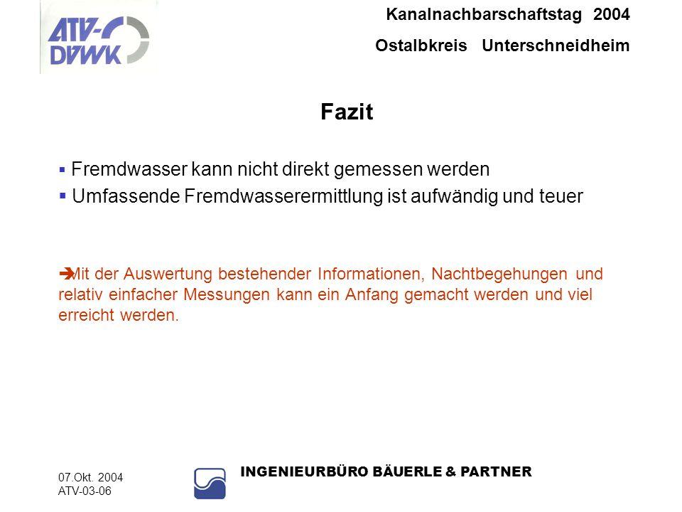 Kanalnachbarschaftstag 2004 Ostalbkreis Unterschneidheim 07.Okt. 2004 ATV-03-06 INGENIEURBÜRO BÄUERLE & PARTNER Fazit Fremdwasser kann nicht direkt ge