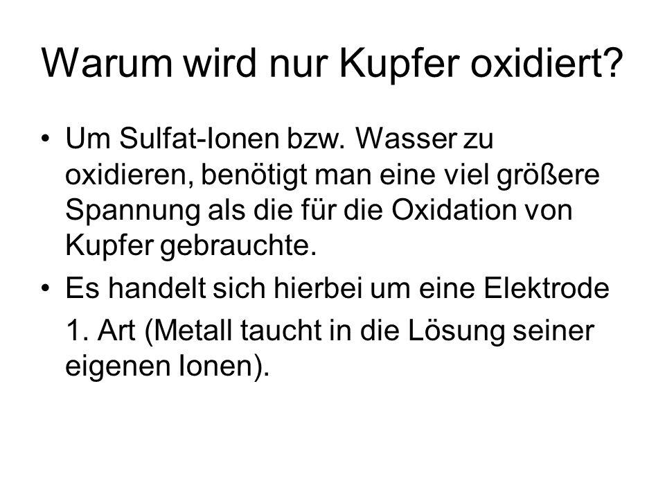 Warum wird nur Kupfer oxidiert? Um Sulfat-Ionen bzw. Wasser zu oxidieren, benötigt man eine viel größere Spannung als die für die Oxidation von Kupfer