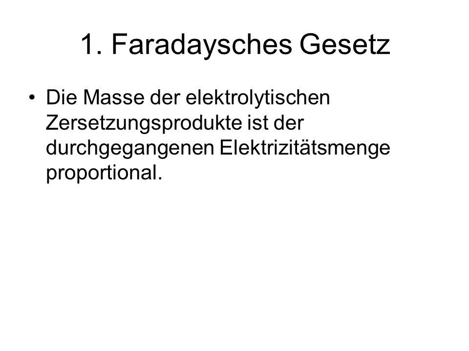 1. Faradaysches Gesetz Die Masse der elektrolytischen Zersetzungsprodukte ist der durchgegangenen Elektrizitätsmenge proportional.
