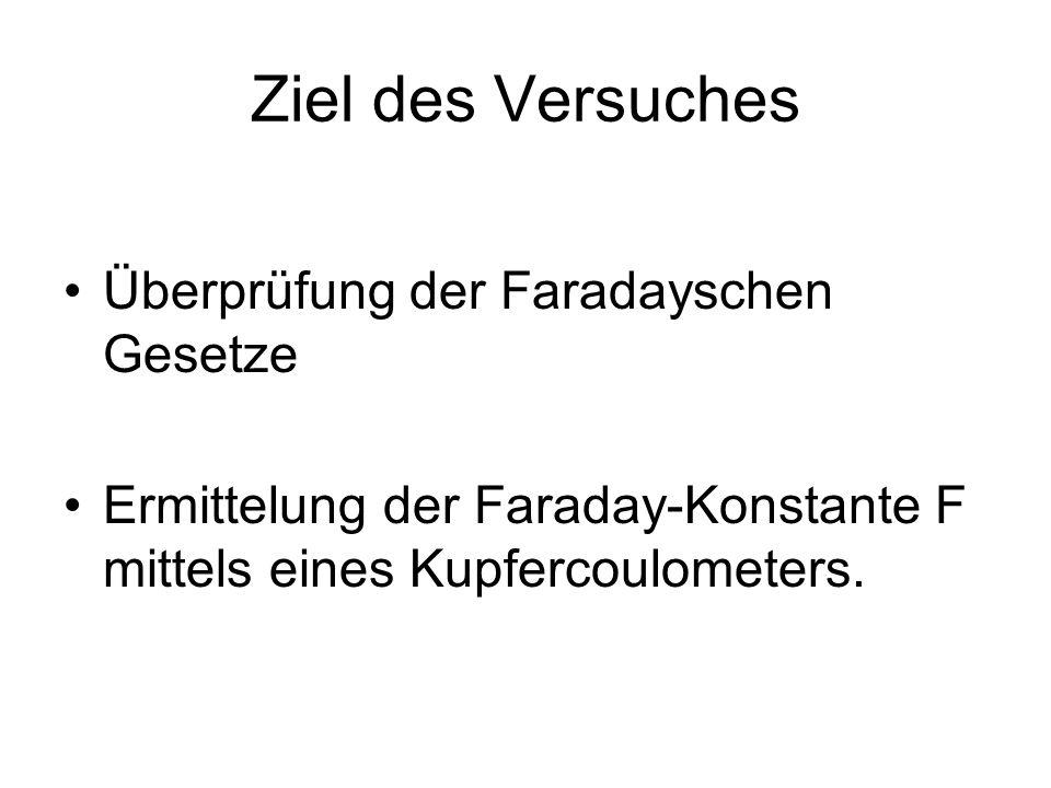 Ziel des Versuches Überprüfung der Faradayschen Gesetze Ermittelung der Faraday-Konstante F mittels eines Kupfercoulometers.