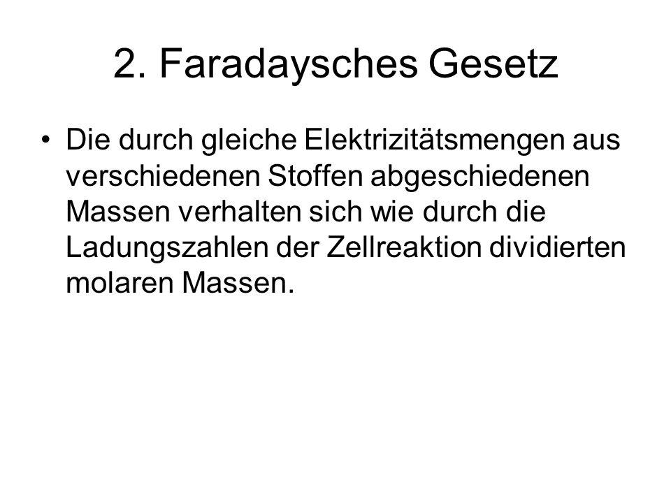 2. Faradaysches Gesetz Die durch gleiche Elektrizitätsmengen aus verschiedenen Stoffen abgeschiedenen Massen verhalten sich wie durch die Ladungszahle
