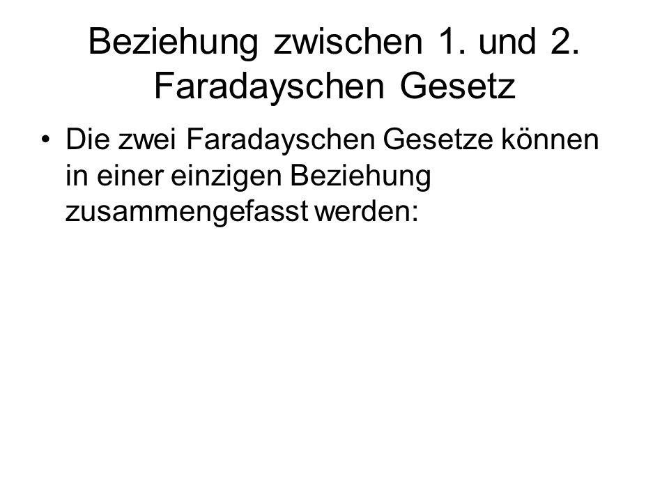 Beziehung zwischen 1. und 2. Faradayschen Gesetz Die zwei Faradayschen Gesetze können in einer einzigen Beziehung zusammengefasst werden: