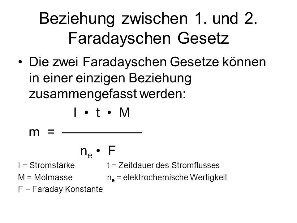 Beziehung zwischen 1. und 2. Faradayschen Gesetz Die zwei Faradayschen Gesetze können in einer einzigen Beziehung zusammengefasst werden: I t M m = n
