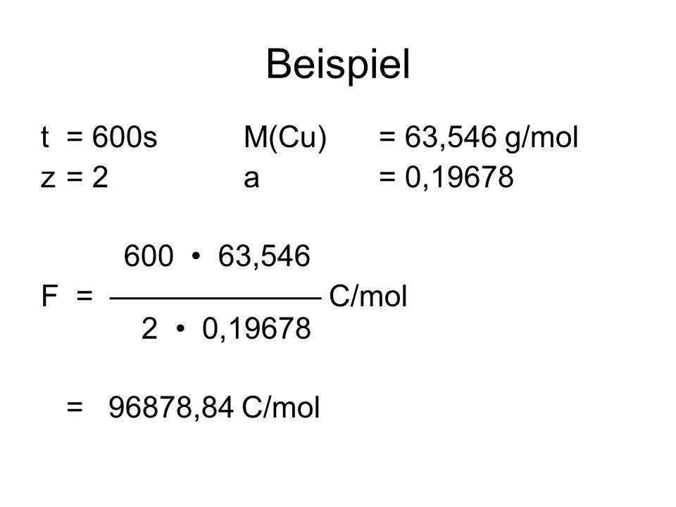 Beispiel t= 600sM(Cu)= 63,546 g/mol z= 2 a = 0,19678 600 63,546 F = C/mol 2 0,19678 =96878,84 C/mol