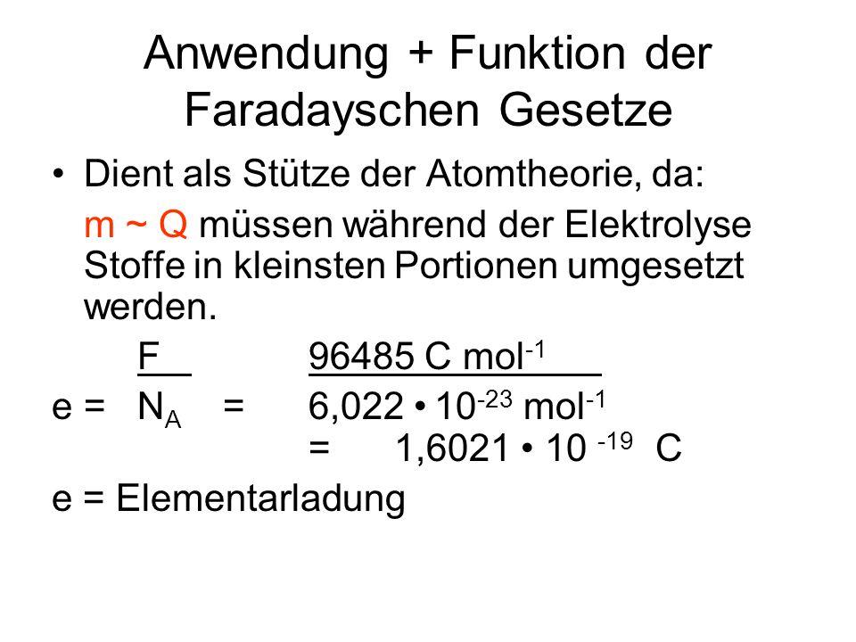 Anwendung + Funktion der Faradayschen Gesetze Dient als Stütze der Atomtheorie, da: m ~ Q müssen während der Elektrolyse Stoffe in kleinsten Portionen