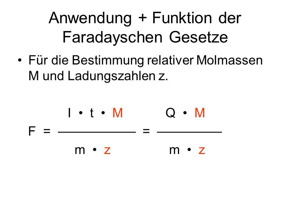Anwendung + Funktion der Faradayschen Gesetze Für die Bestimmung relativer Molmassen M und Ladungszahlen z. I t M Q M F = = m z m z