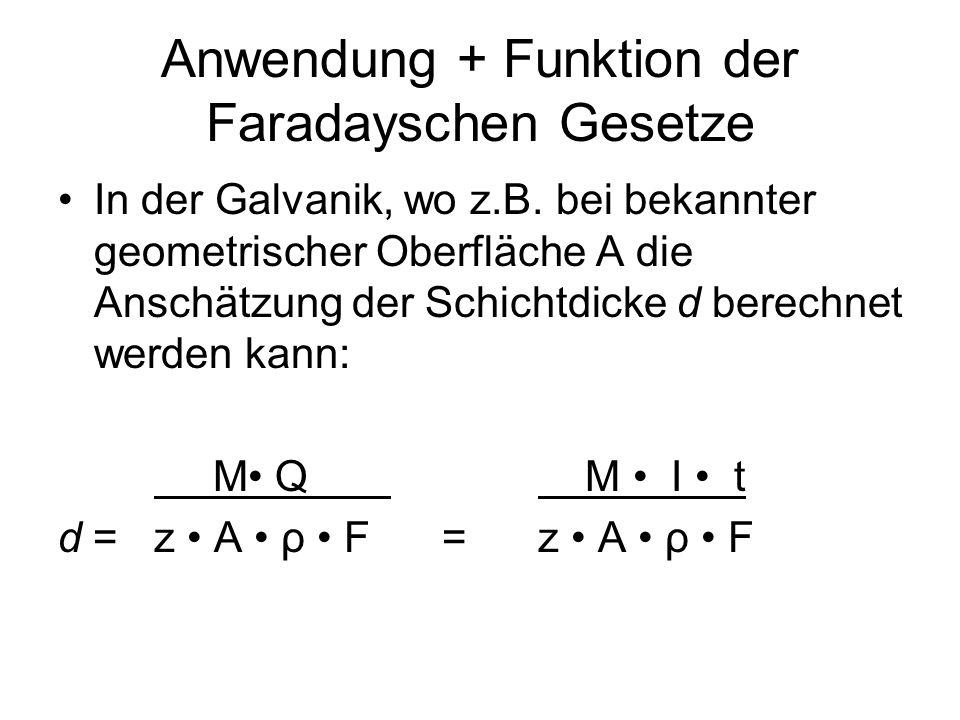 Anwendung + Funktion der Faradayschen Gesetze In der Galvanik, wo z.B. bei bekannter geometrischer Oberfläche A die Anschätzung der Schichtdicke d ber