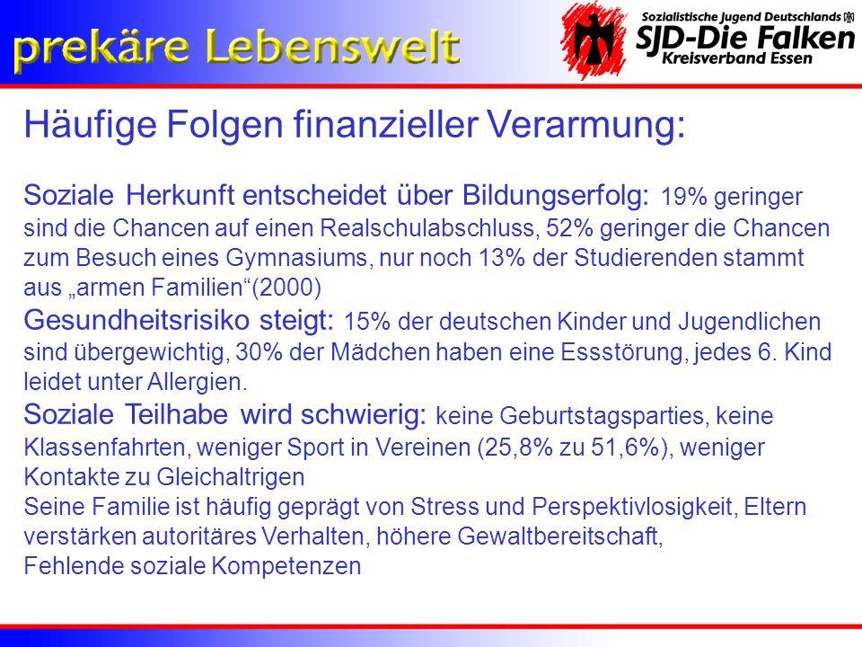Bundesweit 22% aller 25jährigen ohne Berufsabschluss NRW-Weit 27% aller 25jährigen ohne Berufsabschluss Agenturbezirk Bochum/Herne weist Spitzenwert von 35% auf, Gelsenkirchen 32%, Essen 29% Diese Entwicklung war vorherzusehen, denn in den letzten 10 Jahren entwickelte sich der Ausbildungsmarkt nicht zum Vorteil der jungen Menschen.