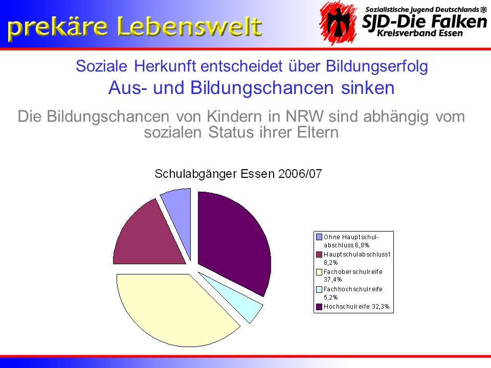 Die Bildungschancen von Kindern in NRW sind abhängig vom sozialen Status ihrer Eltern Soziale Herkunft entscheidet über Bildungserfolg Aus- und Bildun
