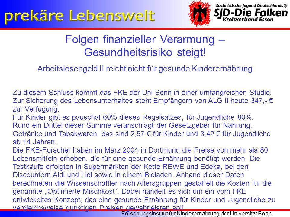 Folgen finanzieller Verarmung – Gesundheitsrisiko steigt! Arbeitslosengeld II reicht nicht für gesunde Kinderernährung Forschungsinstitut für Kinderer
