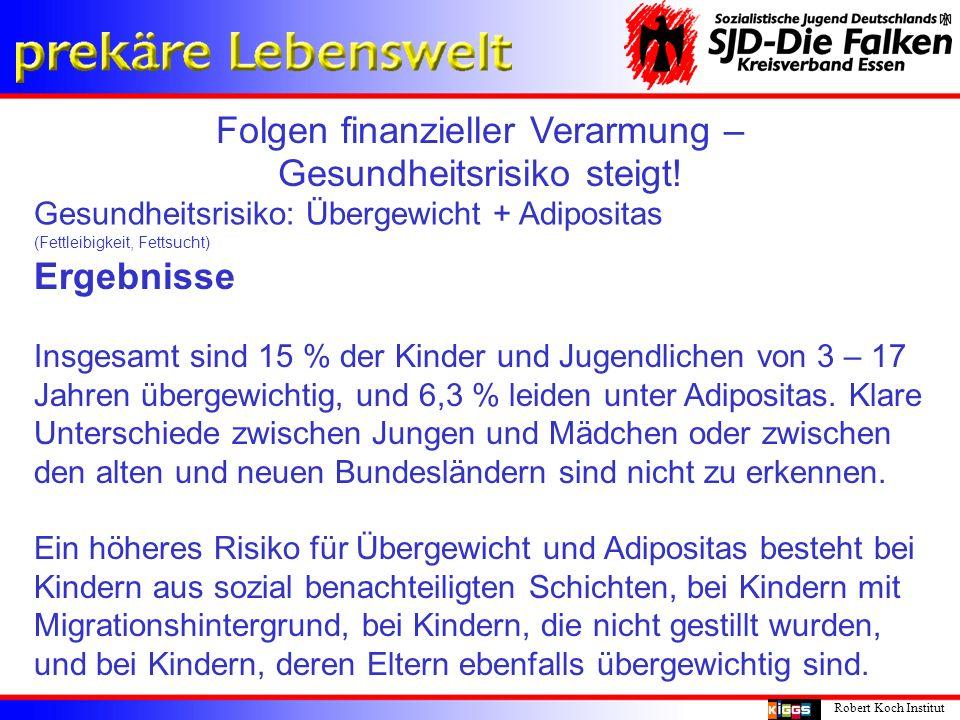 Folgen finanzieller Verarmung – Gesundheitsrisiko steigt! Robert Koch Institut Gesundheitsrisiko: Übergewicht + Adipositas (Fettleibigkeit, Fettsucht)