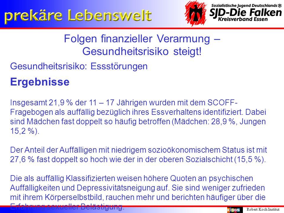 Folgen finanzieller Verarmung – Gesundheitsrisiko steigt! Robert Koch Institut Gesundheitsrisiko: Essstörungen Ergebnisse Insgesamt 21,9 % der 11 – 17