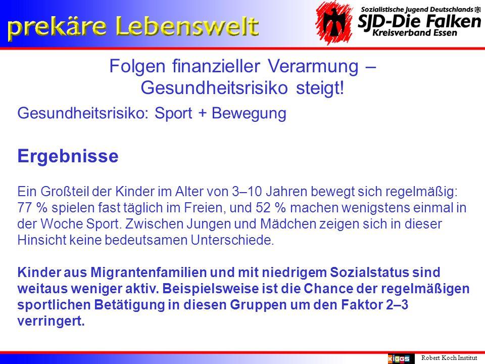Folgen finanzieller Verarmung – Gesundheitsrisiko steigt! Robert Koch Institut Gesundheitsrisiko: Sport + Bewegung Ergebnisse Ein Großteil der Kinder