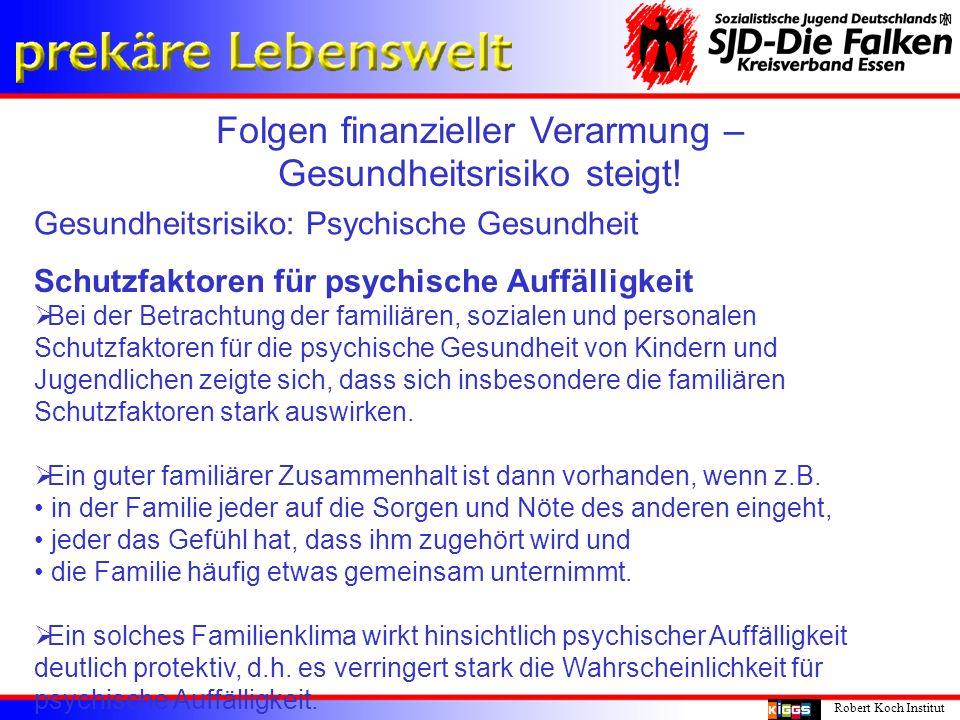 Folgen finanzieller Verarmung – Gesundheitsrisiko steigt! Robert Koch Institut Gesundheitsrisiko: Psychische Gesundheit Schutzfaktoren für psychische