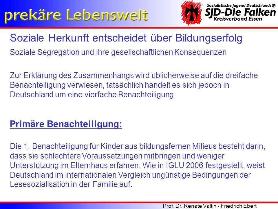 Zur Erklärung des Zusammenhangs wird üblicherweise auf die dreifache Benachteiligung verwiesen, tatsächlich handelt es sich jedoch in Deutschland um e