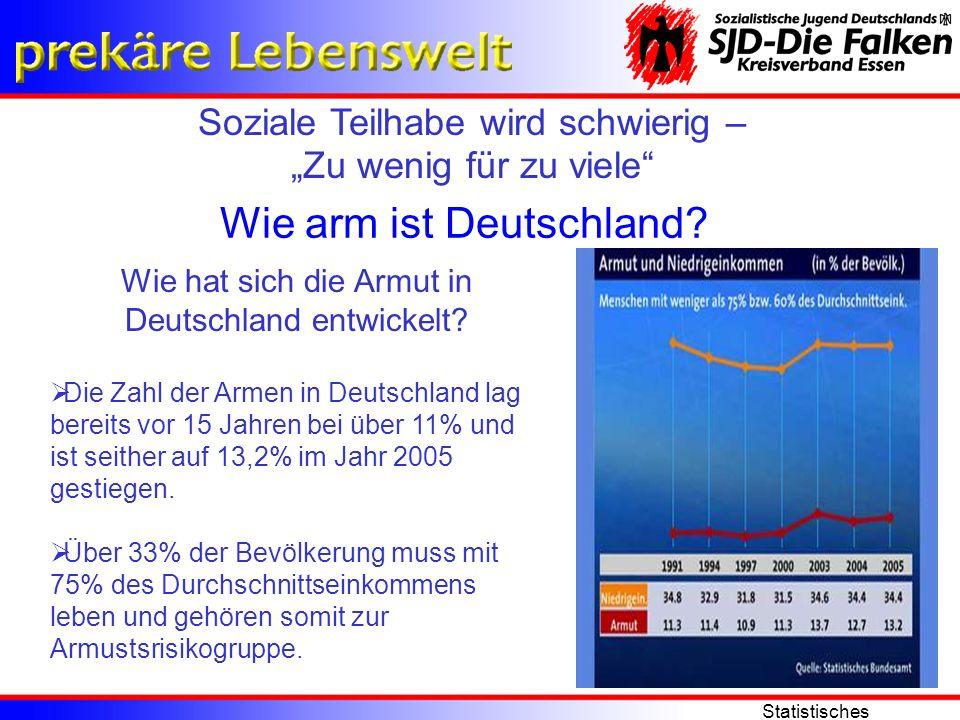 Soziale Teilhabe wird schwierig – Zu wenig für zu viele Statistisches Bundesamt Wie arm ist Deutschland? Wie hat sich die Armut in Deutschland entwick