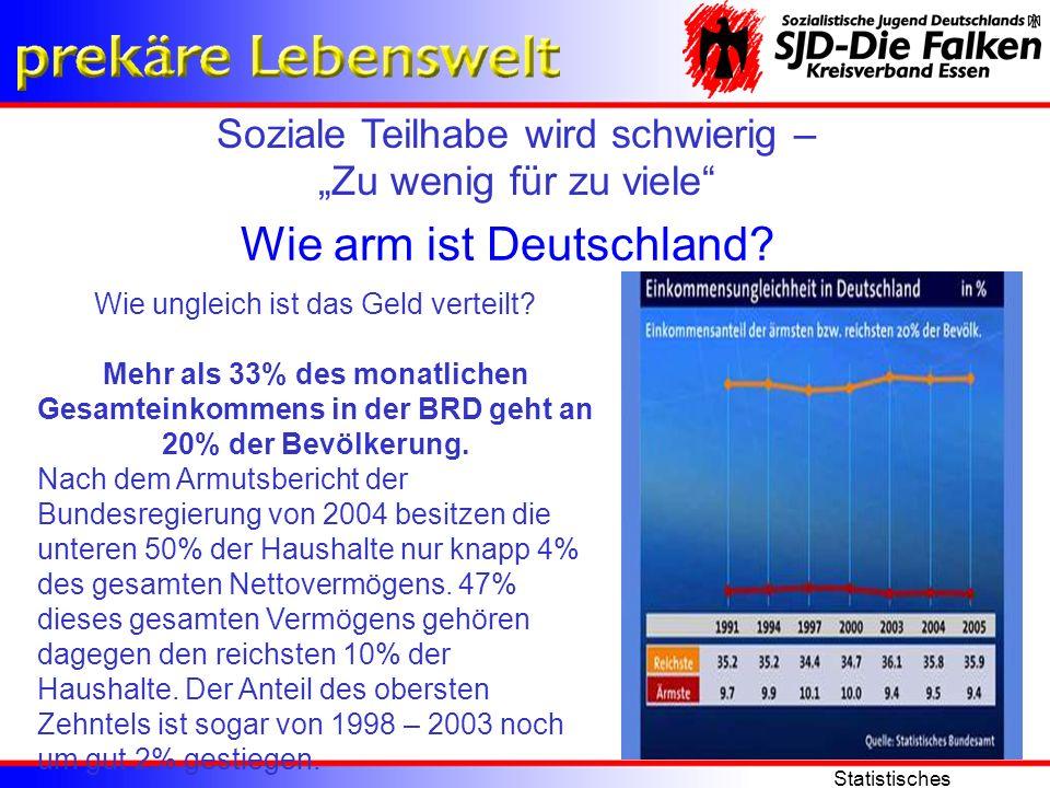 Soziale Teilhabe wird schwierig – Zu wenig für zu viele Statistisches Bundesamt Wie arm ist Deutschland? Wie ungleich ist das Geld verteilt? Mehr als