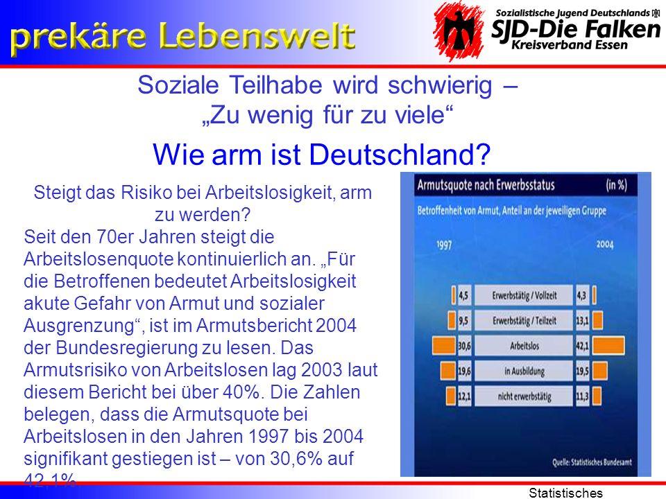 Soziale Teilhabe wird schwierig – Zu wenig für zu viele Statistisches Bundesamt Wie arm ist Deutschland? Steigt das Risiko bei Arbeitslosigkeit, arm z