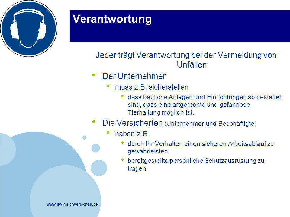 www.lkv-milchwirtschaft.de Verantwortung Jeder trägt Verantwortung bei der Vermeidung von Unfällen Der Unternehmer muss z.B. sicherstellen dass baulic