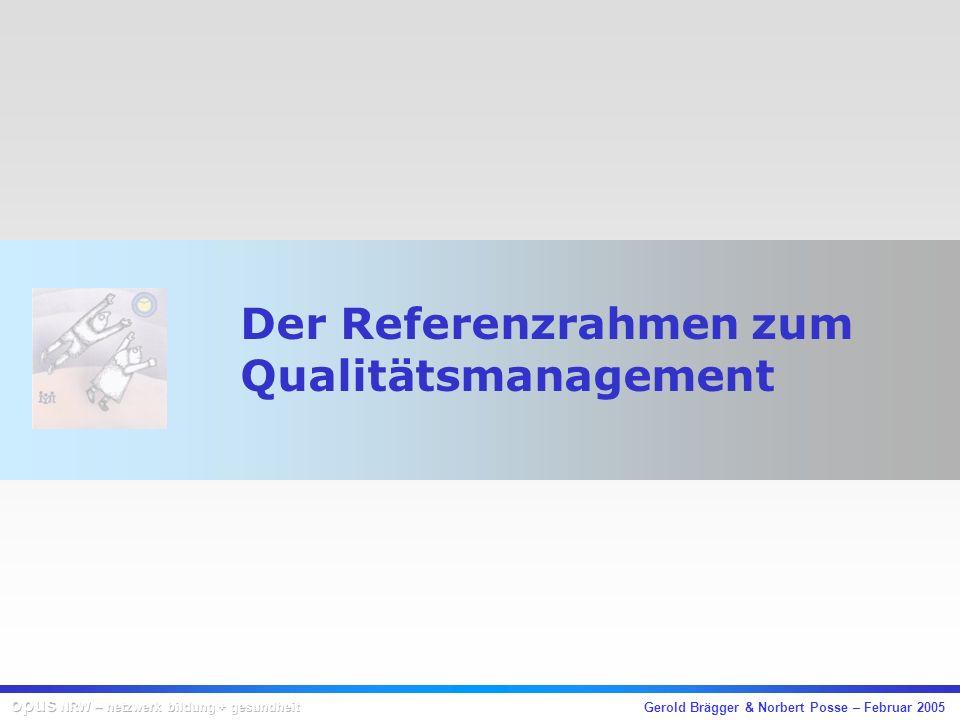 Gerold Brägger & Norbert Posse – Februar 2005 Ziele und Funktionen Entwicklung eines Referenzrahmens für … das schulinterne Qualitätsmanagement die externe Schulevaluation die Entwicklung von innovativen Supportangeboten eine wirkungsvolle Programm- und Projektevalua- tion im Bereich der Netzwerke
