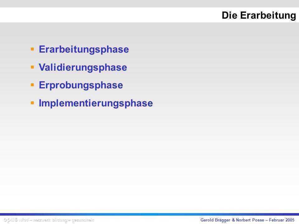Gerold Brägger & Norbert Posse – Februar 2005 Die Erarbeitung Erarbeitungsphase Validierungsphase Erprobungsphase Implementierungsphase