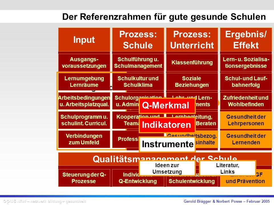 Gerold Brägger & Norbert Posse – Februar 2005 Input Prozess: Schule Prozess: Unterricht Ergebnis/ Effekt Qualitätsmanagement der Schule Ausgangs- voraussetzungen Lernumgebung Lernräume Arbeitsbedingungen u.