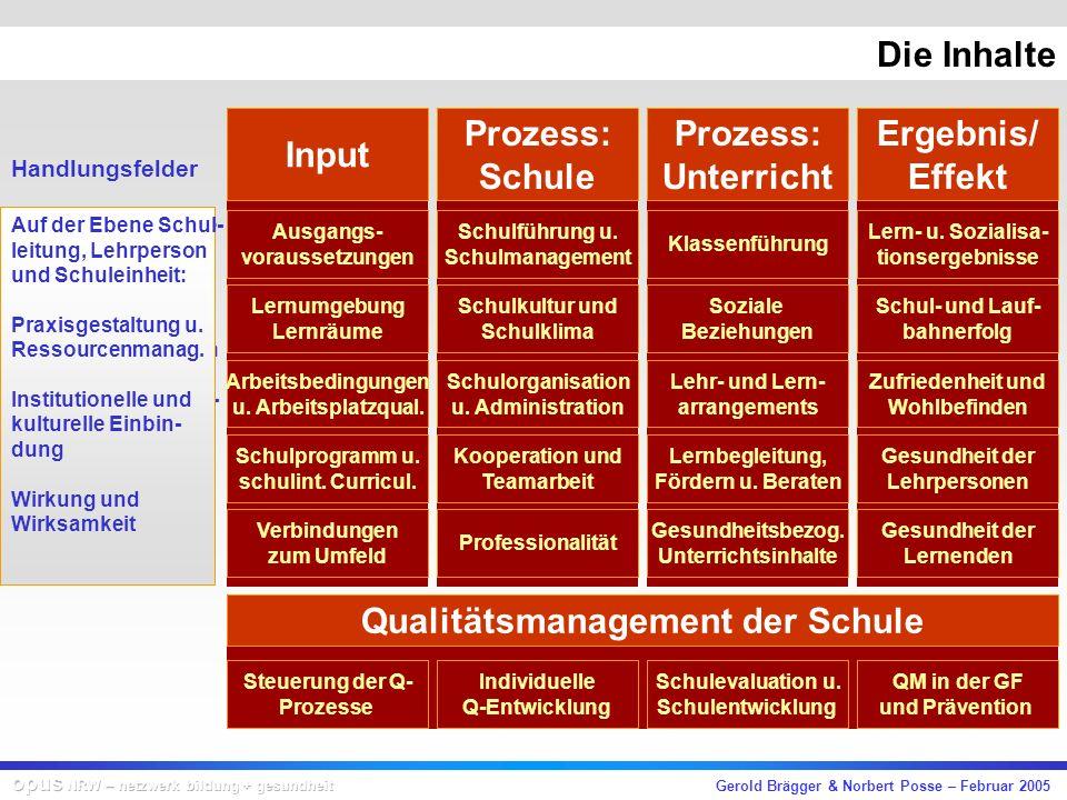 Gerold Brägger & Norbert Posse – Februar 2005 Beispiel Dimension: Prozess-Schule Bereich:Lehr-Lern-Arrangements Handlungsfeld:Gestaltung der Lehr- und Lernprozesse Qualitätsmerkmal:Lehr- und Lernprozesse sind so gestaltet, dass die Förderung und Begleitung der individuellen Lernentwicklung optimiert werden.