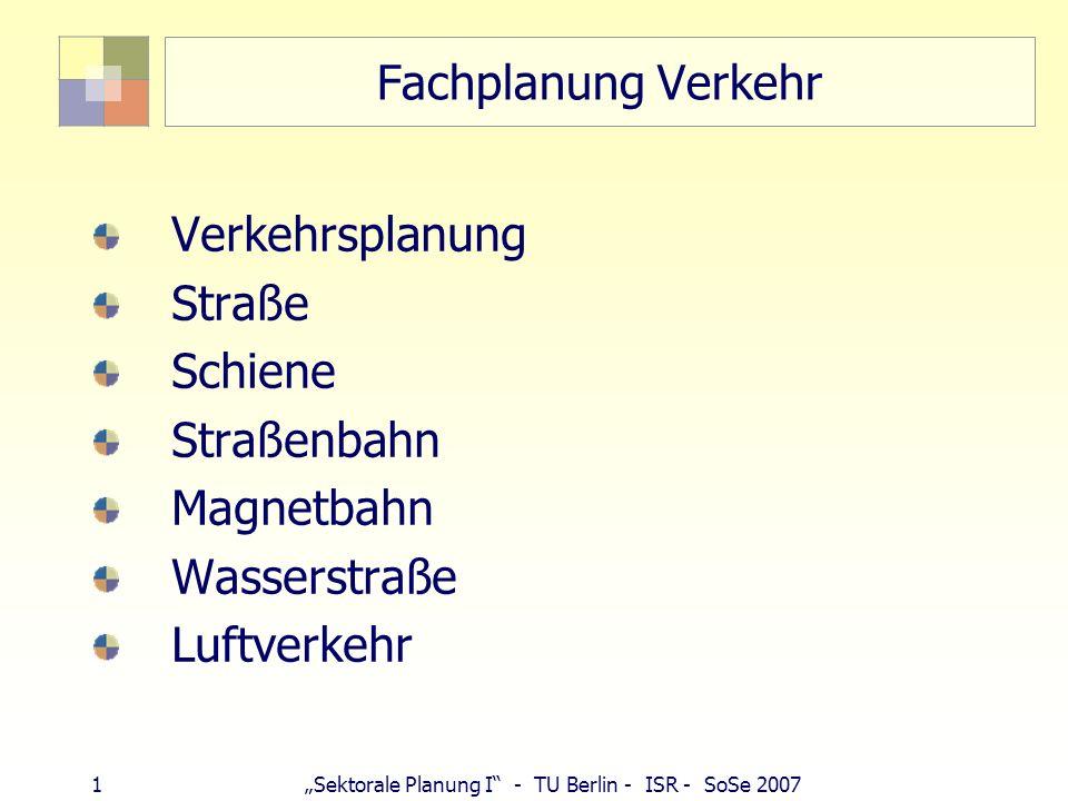 62Sektorale Planung I - TU Berlin - ISR - SoSe 2007 Bahnreform 1994 bis 2000: Steigerung Verkehrsleistung : 19 % Produktivität: 143 % mehr Wettbewerb im SPNV: Anteil Dritter von 3 auf 7 % Rechtsgrundlagen: Allgemeines Eisenbahngesetz (§18 AEG), § 3 Abs.