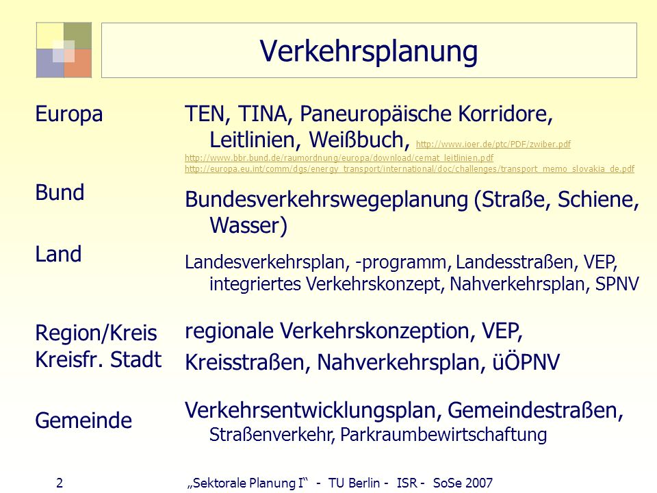 33Sektorale Planung I - TU Berlin - ISR - SoSe 2007 Autobahnbau 1913 Fließbandproduktion bei Ford (1924 Opel) Wachsende PKW-Zahlen (1932: 0,5 Mio.), wachsende Geschwindigkeit Wichtigste Unterscheidungsmerkmale: kreuzungsfrei, Überholspur Planungen: Erste Autobahn 1932 (Köln-Bonn) Hitler: Autobahnprogramm 6.900 km (Pläne aus Weimarer Zeit) Höchste Beschäftigungszahl 1936: 120.000 Arbeiter Fertigstellung bis 1945: 3.800 km