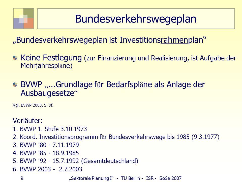 30Sektorale Planung I - TU Berlin - ISR - SoSe 2007 Straßenplanung Zahlen Überörtliche Straßen Chausseen, Reichstraßen, Bundesstraßen Autobahn RAS-Q 96 Verkehr und Sicherheit