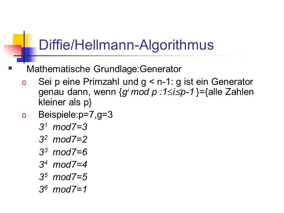 Diffie/Hellmann-Algorithmus Mathematische Grundlage:Generator o Sei p eine Primzahl und g < n-1: g ist ein Generator genau dann, wenn {g i mod p :1 i