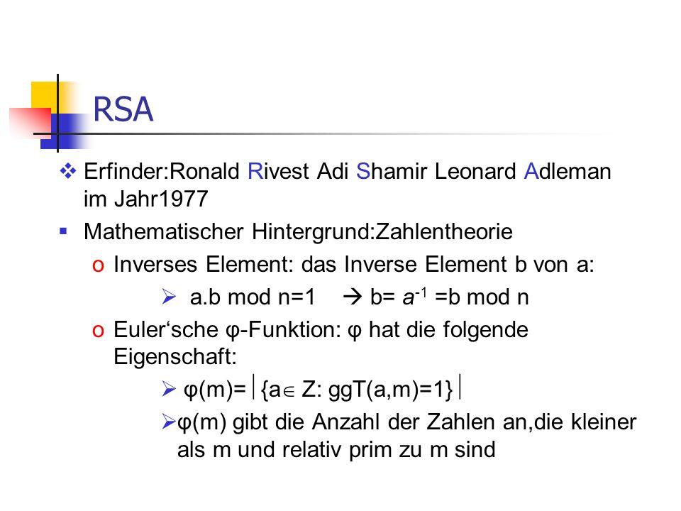 RSA Erfinder:Ronald Rivest Adi Shamir Leonard Adleman im Jahr1977 Mathematischer Hintergrund:Zahlentheorie oInverses Element: das Inverse Element b vo