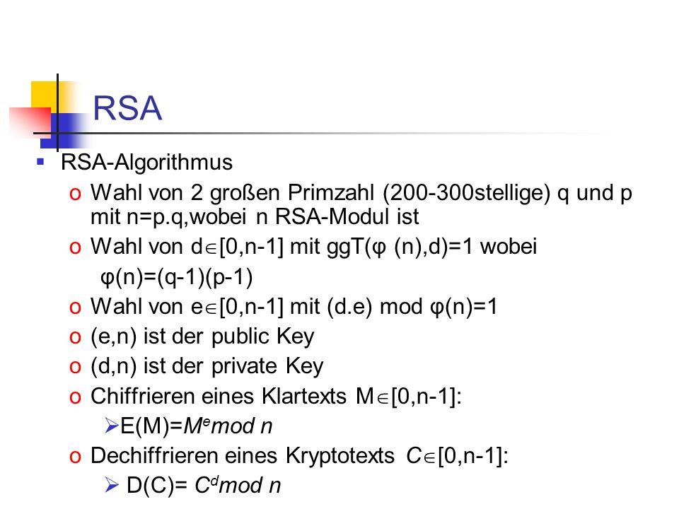 RSA RSA-Algorithmus oWahl von 2 großen Primzahl (200-300stellige) q und p mit n=p.q,wobei n RSA-Modul ist oWahl von d [0,n-1] mit ggT(φ (n),d)=1 wobei