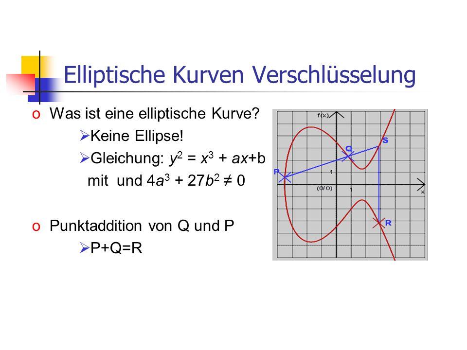 Elliptische Kurven Verschlüsselung oWas ist eine elliptische Kurve? Keine Ellipse! Gleichung: y 2 = x 3 + ax+b mit und 4a 3 + 27b 2 0 oPunktaddition v