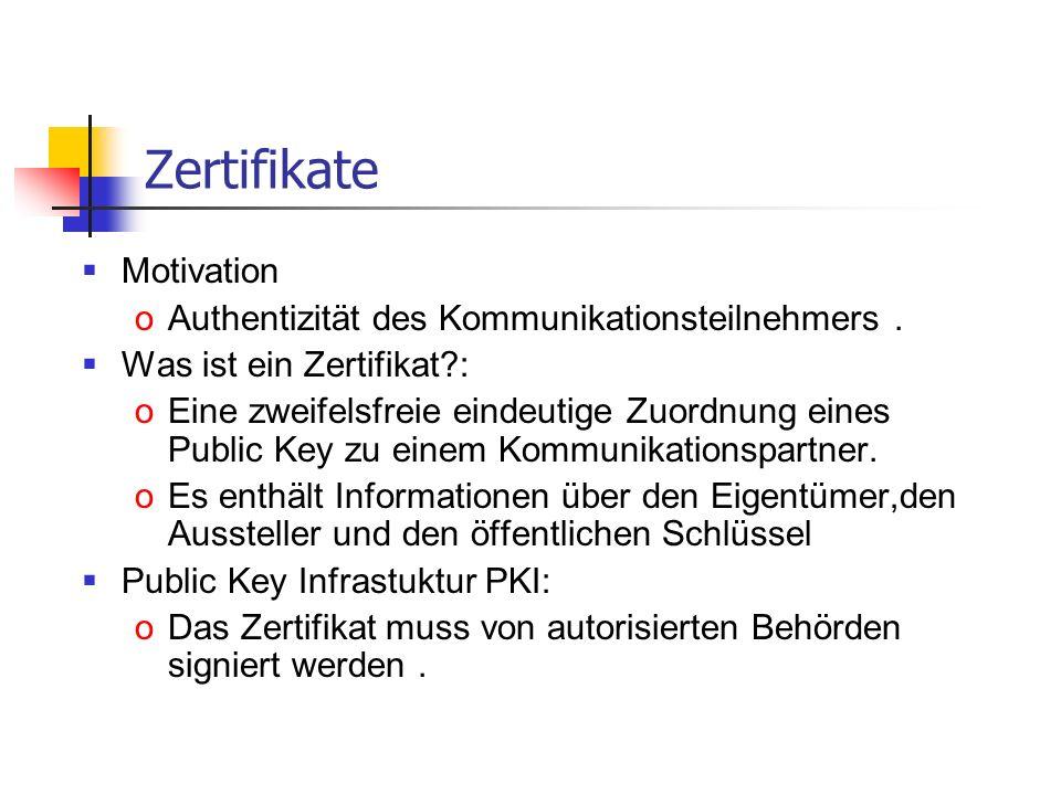 Zertifikate Motivation oAuthentizität des Kommunikationsteilnehmers. Was ist ein Zertifikat?: oEine zweifelsfreie eindeutige Zuordnung eines Public Ke