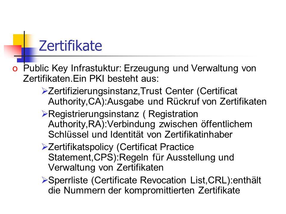 Zertifikate oPublic Key Infrastuktur: Erzeugung und Verwaltung von Zertifikaten.Ein PKI besteht aus: Zertifizierungsinstanz,Trust Center (Certificat A