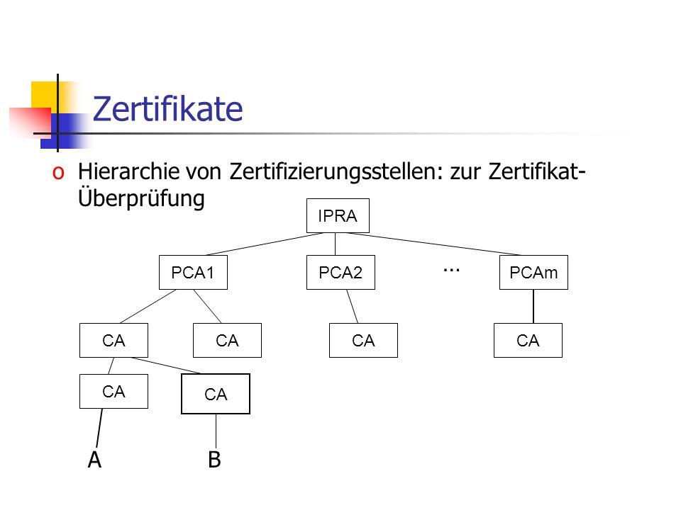 Zertifikate oHierarchie von Zertifizierungsstellen: zur Zertifikat- Überprüfung … A B IPRA PCA1PCA2PCAm CA
