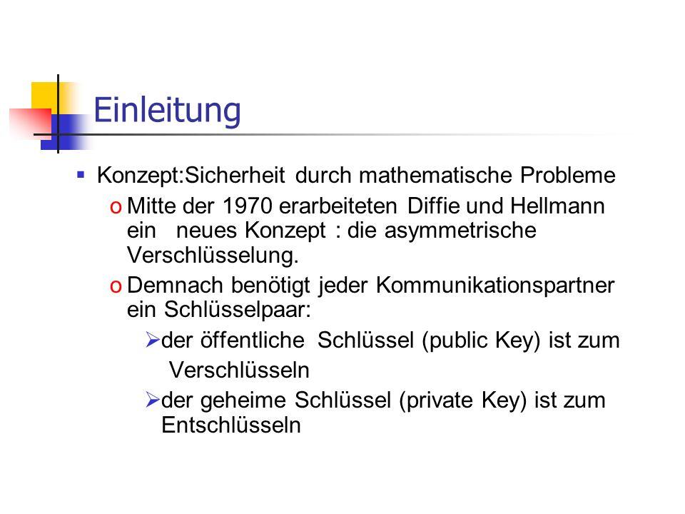 Einleitung Konzept:Sicherheit durch mathematische Probleme oMitte der 1970 erarbeiteten Diffie und Hellmann ein neues Konzept : die asymmetrische Vers