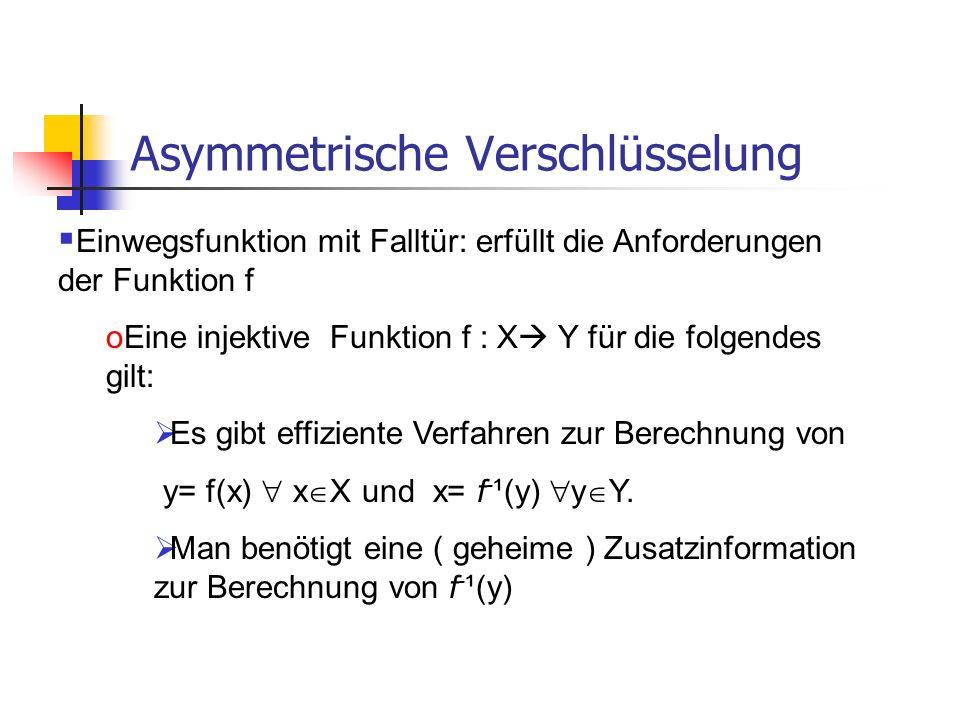 Asymmetrische Verschlüsselung Einwegsfunktion mit Falltür: erfüllt die Anforderungen der Funktion f oEine injektive Funktion f : X Y für die folgendes
