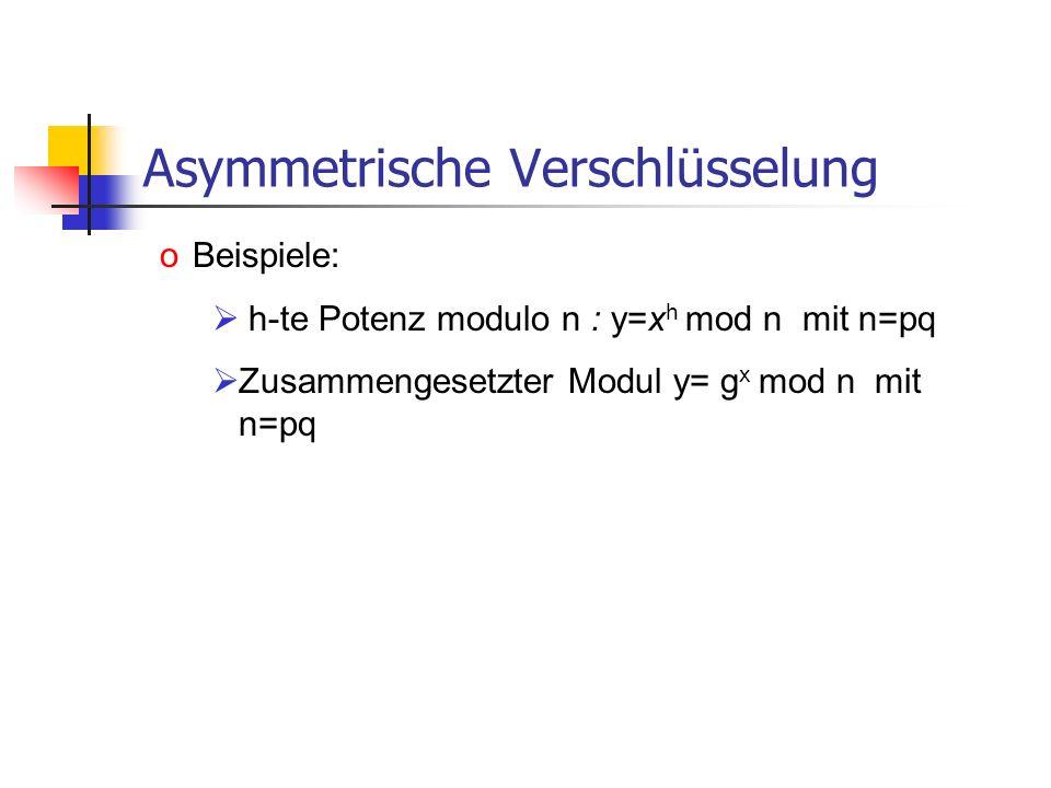 Asymmetrische Verschlüsselung oBeispiele: h-te Potenz modulo n : y=x h mod n mit n=pq Zusammengesetzter Modul y= g x mod n mit n=pq