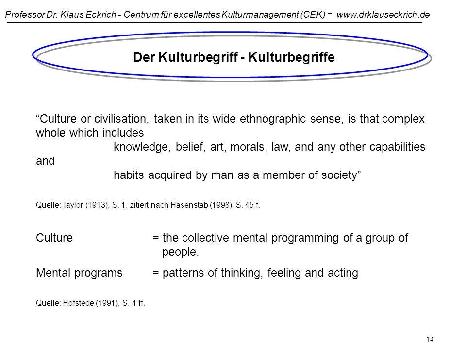 Professor Dr. Klaus Eckrich - Centrum für excellentes Kulturmanagement (CEK) - www.drklauseckrich.de 13 Kulturen, in denen wir agieren und kommunizier