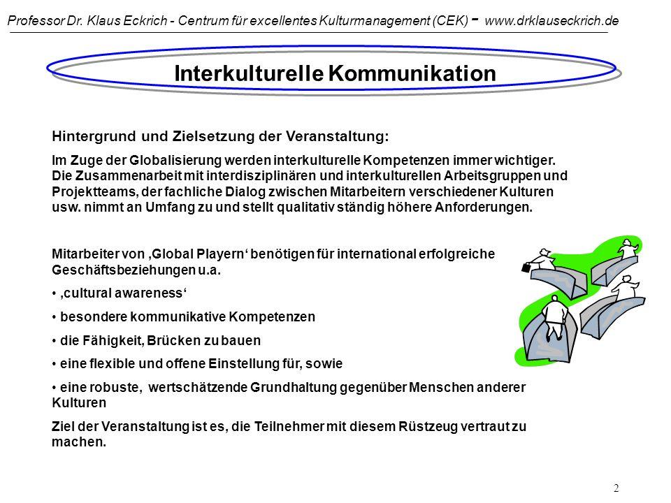 Professor Dr. Klaus Eckrich - Centrum für excellentes Kulturmanagement (CEK) - www.drklauseckrich.de 1 Interkulturelle Kommunikation Übersicht: Einfüh