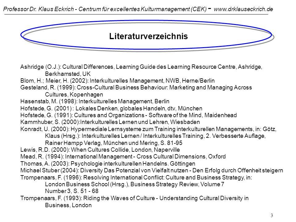 Professor Dr. Klaus Eckrich - Centrum für excellentes Kulturmanagement (CEK) - www.drklauseckrich.de 2 Interkulturelle Kommunikation Hintergrund und Z