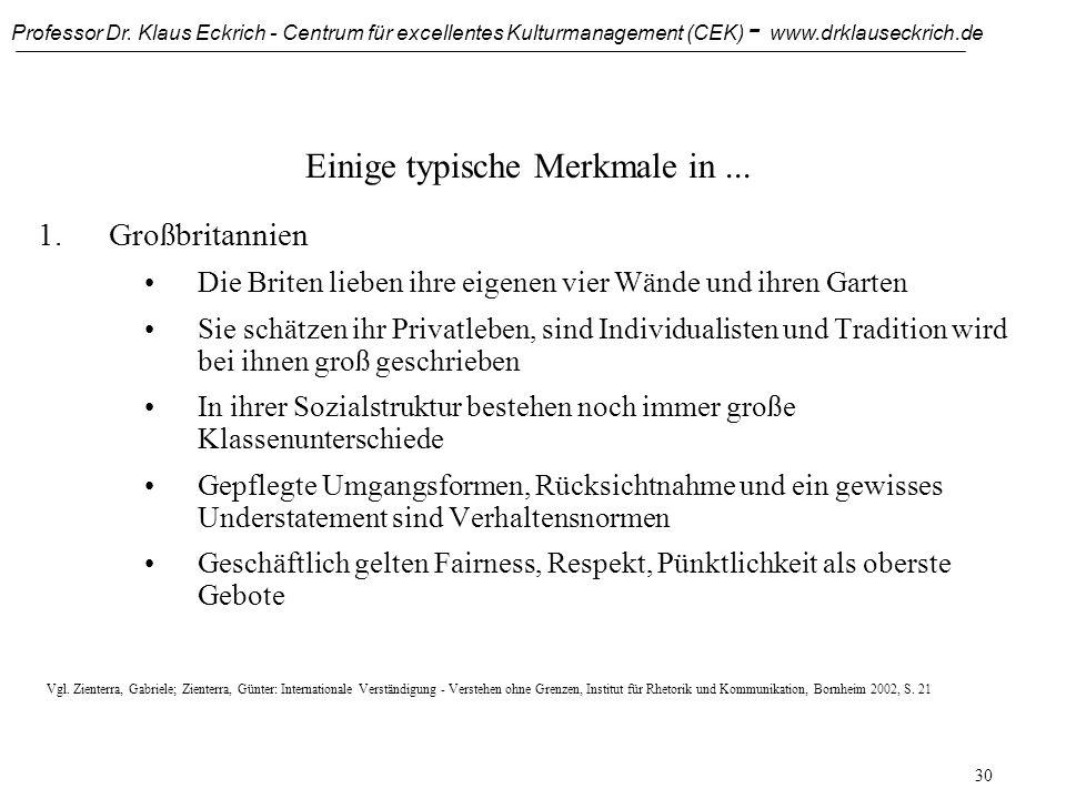 Professor Dr. Klaus Eckrich - Centrum für excellentes Kulturmanagement (CEK) - www.drklauseckrich.de 29 Kultur als eine Normalverteilung Italienische