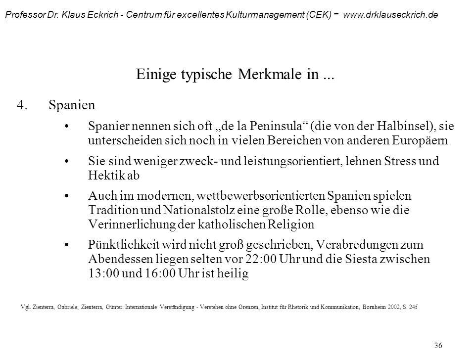 Professor Dr. Klaus Eckrich - Centrum für excellentes Kulturmanagement (CEK) - www.drklauseckrich.de 35 Einige typische Merkmale in... 3.Italien Orden