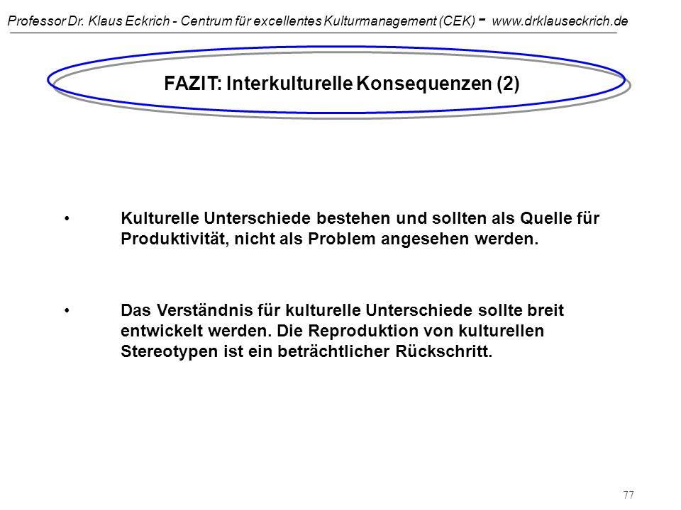 Professor Dr. Klaus Eckrich - Centrum für excellentes Kulturmanagement (CEK) - www.drklauseckrich.de 76 FAZIT: Interkulturelle Konsequenzen (1) Länder