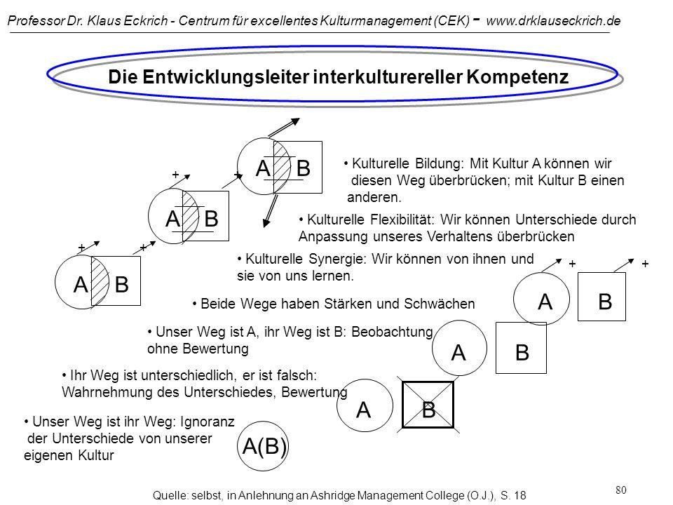 Professor Dr. Klaus Eckrich - Centrum für excellentes Kulturmanagement (CEK) - www.drklauseckrich.de 79 Grundvoraussetzung für effektives interkulture