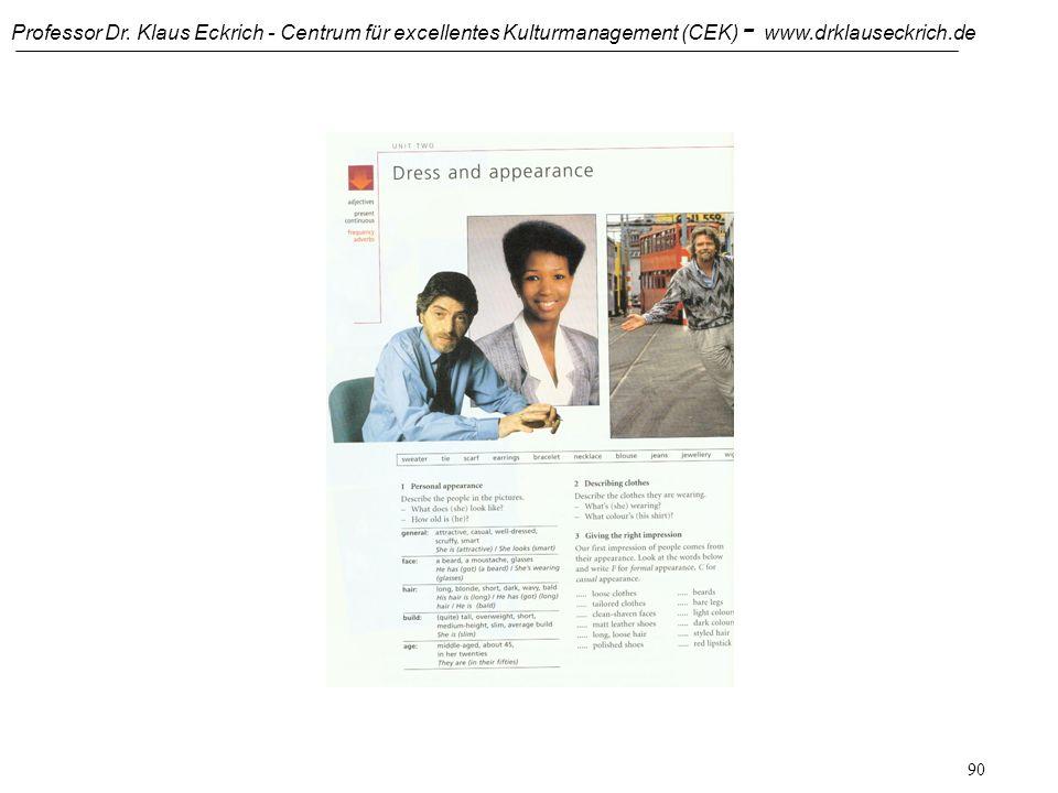 Professor Dr. Klaus Eckrich - Centrum für excellentes Kulturmanagement (CEK) - www.drklauseckrich.de 89